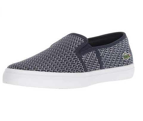 Lacoste Women's Gazon Slip On Sneaker, Navy/White