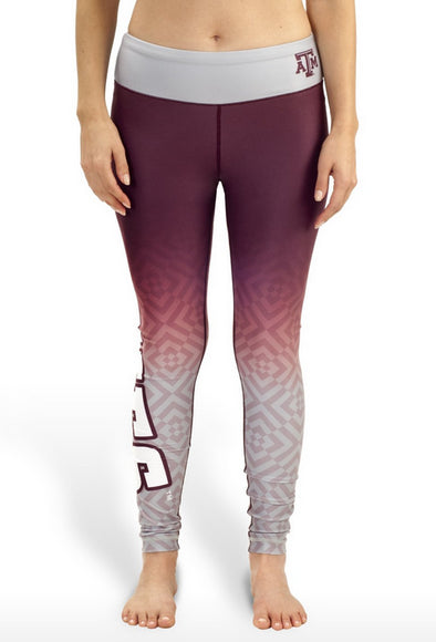 NCAA Women's Texas A&M Aggies Gradient Print Leggings, Maroon