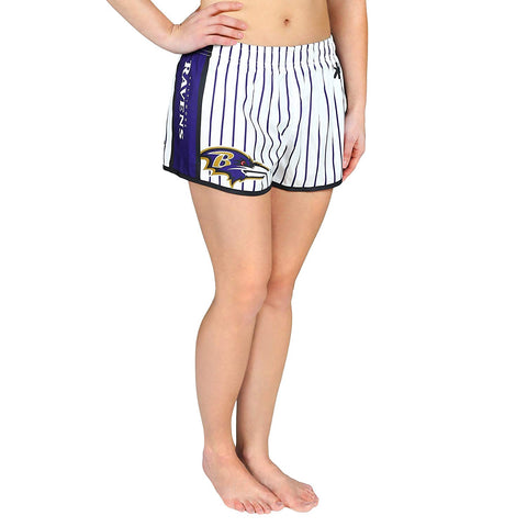 Forever Collectibles NFL Women's Baltimore Ravens Pinstripe Shorts