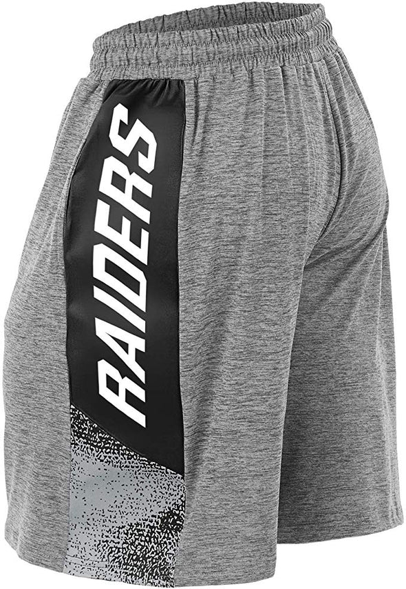 Zubaz NFL Football Mens Oakland Raiders Gray Space Dye Shorts