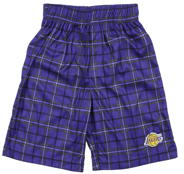 NBA Basketball Kids Los Angeles Lakers Plaid Pajama Boxer Shorts - Purple