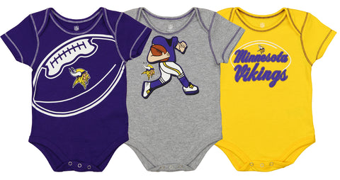7a78ae20cf8 Outerstuff NFL Infant Minnesota Vikings 3 Pack Creeper Set