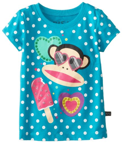 Paul Frank Little Girl's Kids Julius Popsicle Polkadott Tee T-Shirt, Turquoise
