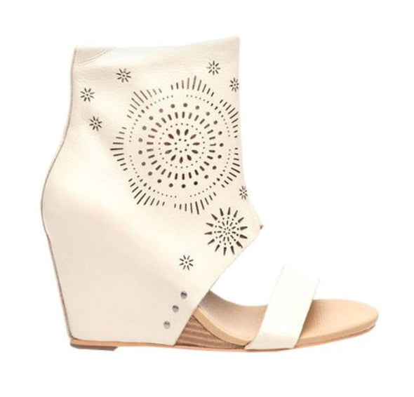Koolaburra Women's Perone Laser Wedge Sandals Heels - Stone White