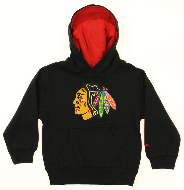 Reebok NHL Kids Chicago Blackhawks Pullover Hooded Sweatshirt, Black