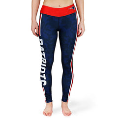 Forever Collectibles NFL Women's New England Patriots Team Stripe Leggings, Navy