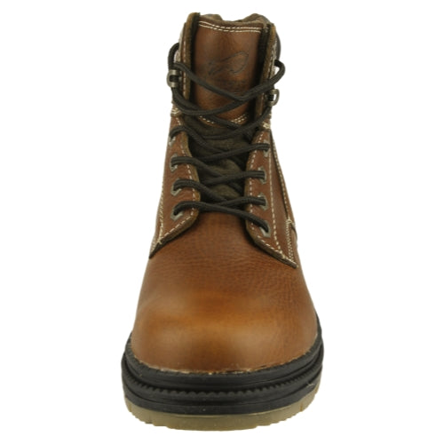 NFL Men's Buffalo Bills Steel Toe Lace Up Leather Work Boots - Brown