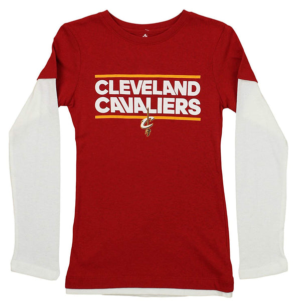 Adidas NBA Youth Girls Cleveland Cavaliers Long Sleeve Dassler Tee, Red