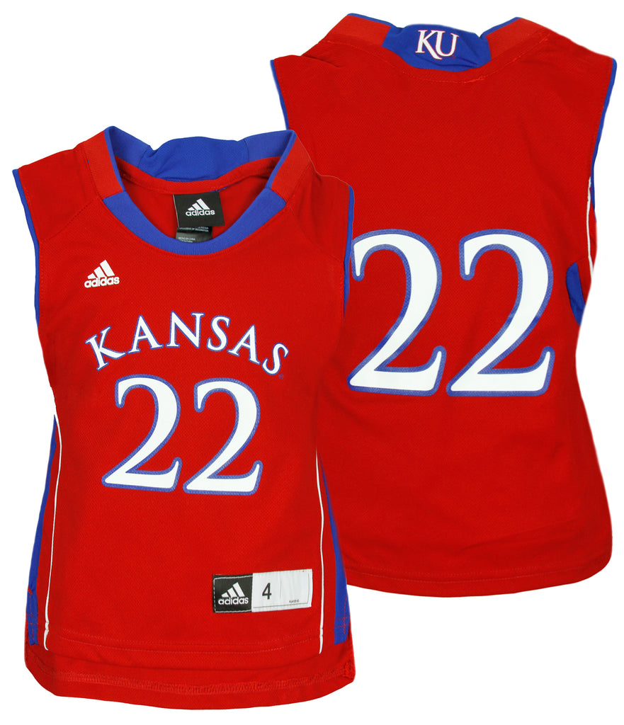the latest 6d132 c75e0 Adidas NCAA College Kids Kansas Jayhawks # 22 Basketball Jersey, Red