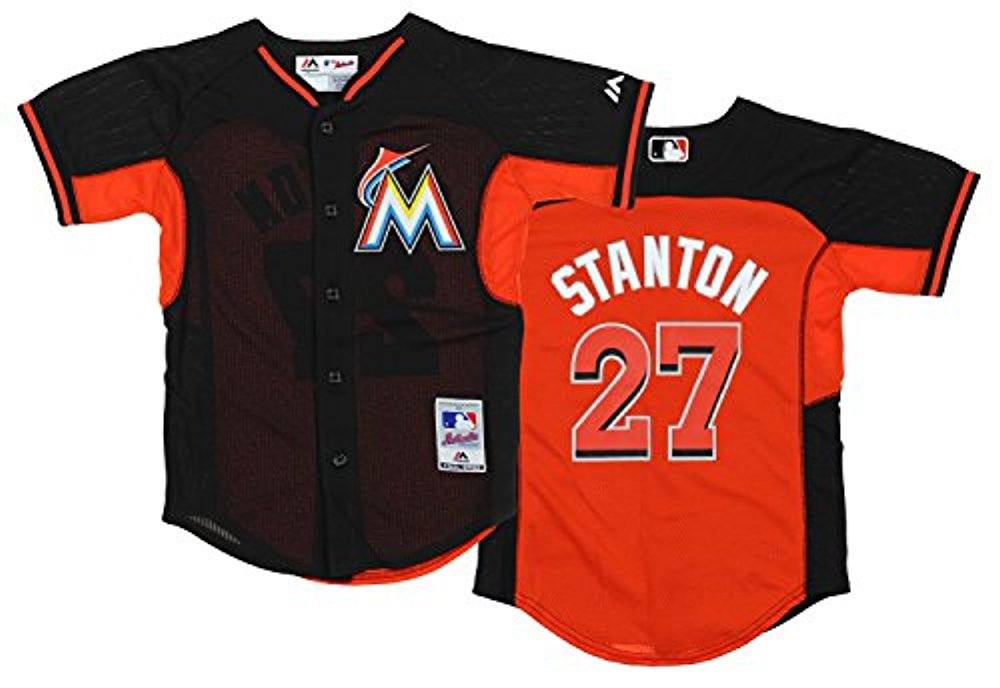 super popular 87986 d7d16 Majestic MLB Youth Miami Marlins Giancarlo Stanton #27 Cool Base Practice  Jersey
