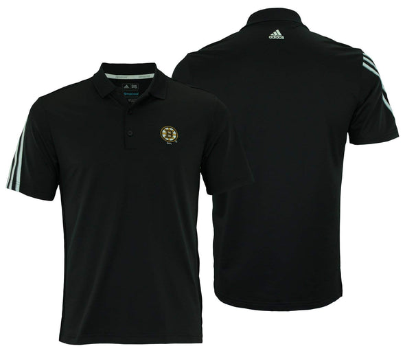 Adidas NHL Men's Boston Bruins Logo 3 Stripes Golf Polo, Black