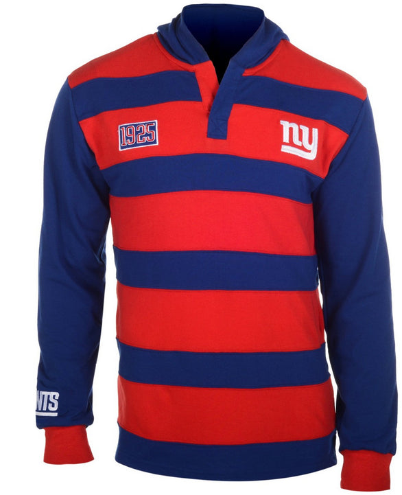KLEW NFL Men's New York Giants Striped Rugby Pullover Hoodie, Red / Navy