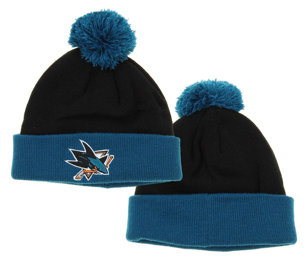 new concept c67ab b5c90 NHL Reebok San Jose Sharks Kids Face Off Cuffed Knit Winter Hat With Pom,  Black