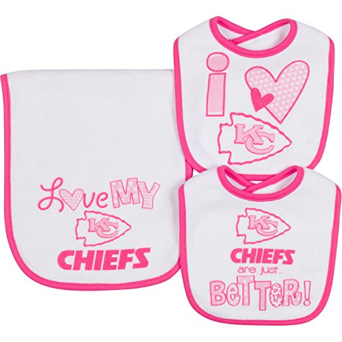 NFL Infant Girls Kansas City Chiefs Dribbler Bibs & Burp Cloth Set, One Size