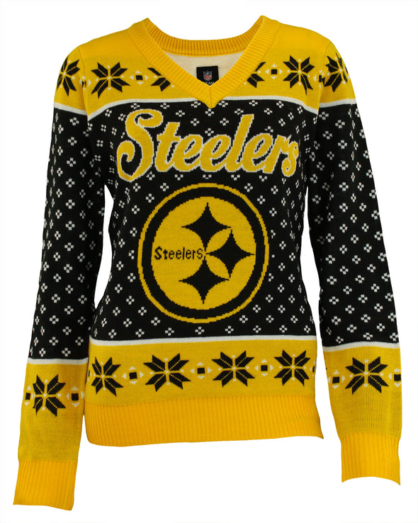 Forever Collectibles NFL Women's Pittsburgh Steelers Big Logo V-Neck Sweater