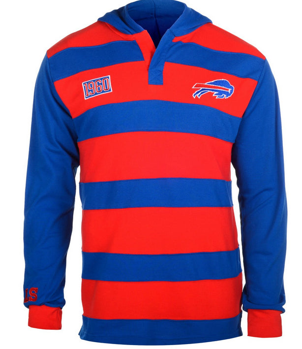KLEW NFL Men's Buffalo Bills Striped Rugby Pullover Hoodie, Red / Blue