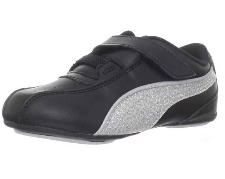 top design no sale tax official Puma Tallula Glamm V Little Kids Girls Sneaker Velcro Shoes - Black and  White
