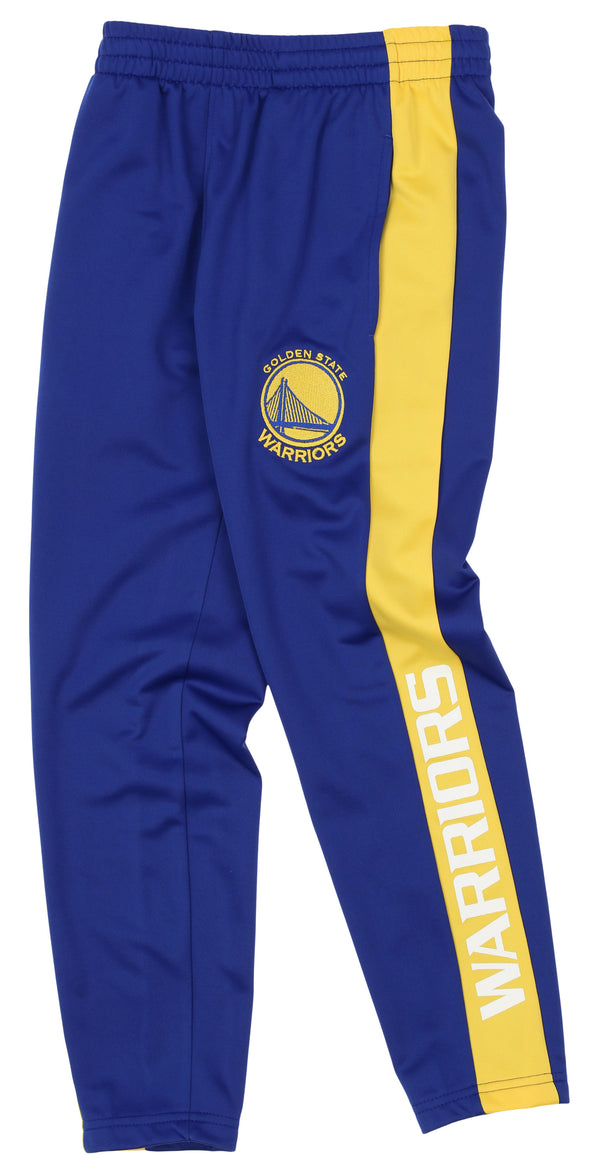 OuterStuff NBA Youth Boys Side Stripe Slim Fit Performance Pant, Golden State Warriors