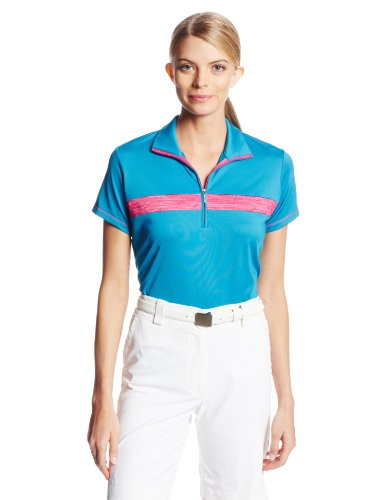 Adidas Golf Women's Puremotion Textured Print Zip Polo Shirt - Three Colors