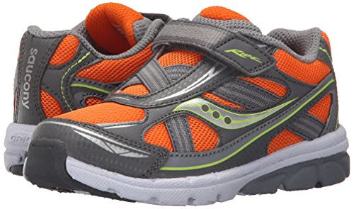 Saucony Little Kid/Toddlers Baby Ride Running Shoe, Orange/Grey