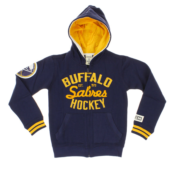 NHL Youth Buffalo Sabres Team Classics Fleece Zip Up Hoodie, Navy