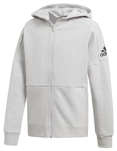 adidas Boys Youth (8-20) ID Stadium Full Zip Hoodie, Grey/Black