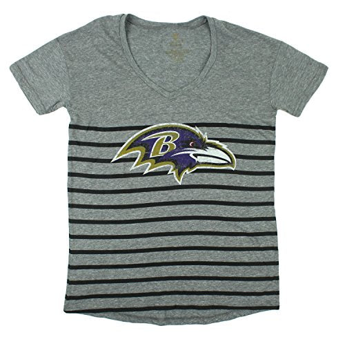 NFL Football Juniors Baltimore Ravens Striped Slouch Short Sleeve T-Shirt, Grey