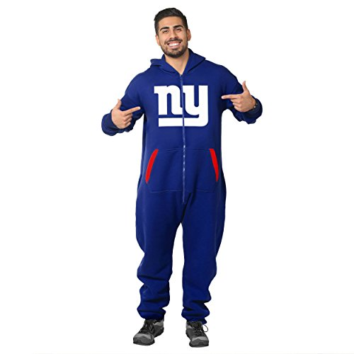 Forever Collectibles NFL Unisex New York Giants Logo Jumpsuit, Blue