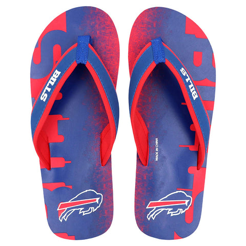 FOCO NFL Men's Buffalo Bills Contour Fade Wordmark Thong Sandals