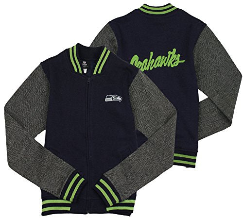 half off a799e c1864 NFL Football Youth Girl's Seattle Seahawks Varsity Full Zip Jacket, Navy