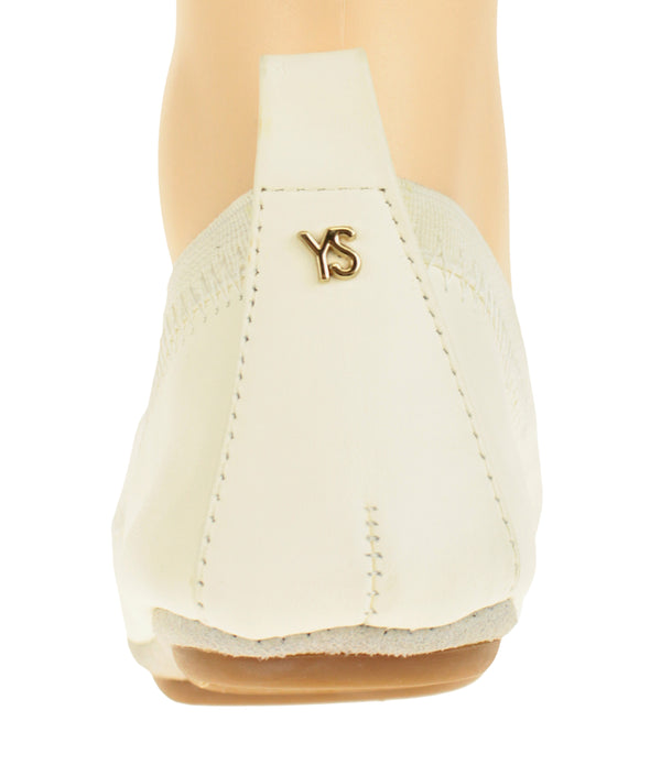 Yosi Samra Women's Samara Pom Pom Ballet Flat, Whisper White/Light Grey