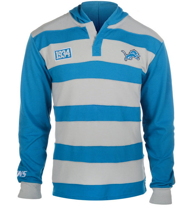 KLEW NFL Men's Detroit Lions Striped Rugby Pullover Hoodie, Blue / Grey