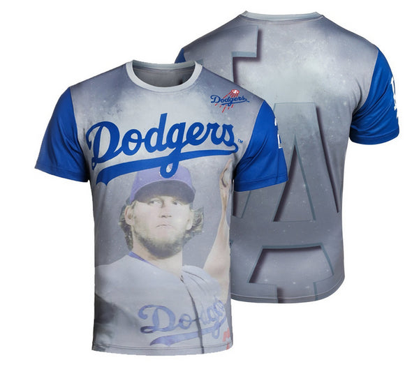 MLB Men's Los Angeles Dodgers Clayton Kershaw #22 Watermark Player T-Shirt, Blue