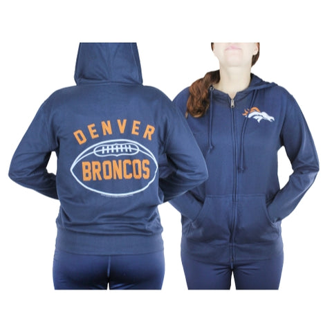 Denver Broncos NFL Womens Double Coverage Full Zip French Terry Hoodie, Navy