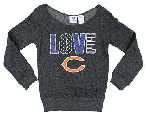 NFL Youth Girls Chicago Bears Love Off The Shoulder Pullover Sweatshirt, Grey