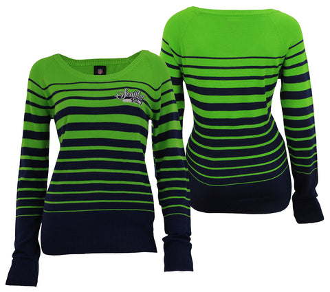 Forever Collectibles NFL Women's Seattle Seahawks Stripes Scoop Neck Sweater