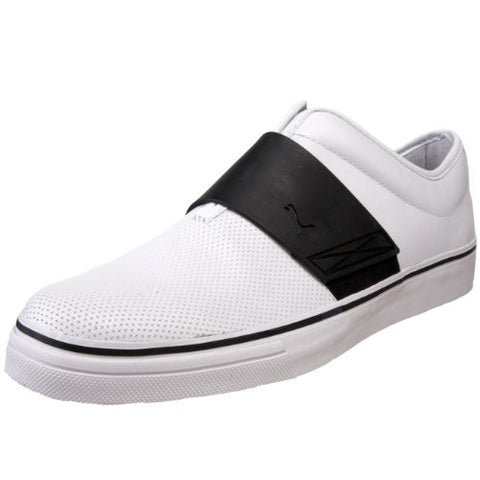 Puma Men's EL Rey Cross Perf Leather Slip-On Sneakers Shoes, White / Black