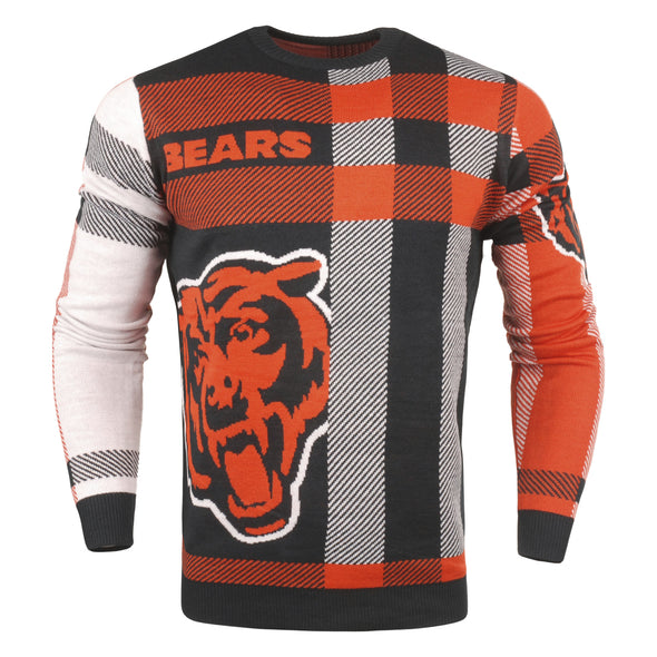 Forever Collectibles NFL Men's Chicago Bears Plaid Crew Neck Sweater