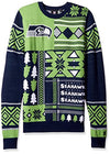 Klew NFL Men's Seattle Seahawks Patches Ugly Crew Neck Sweater, Green/Blue