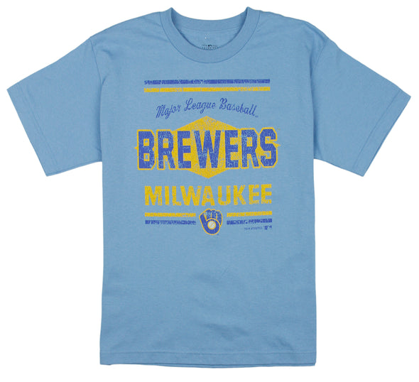 MLB Baseball Youth Boys Milwaukee Brewers Vintage Graphic Tee T-Shirt, Blue