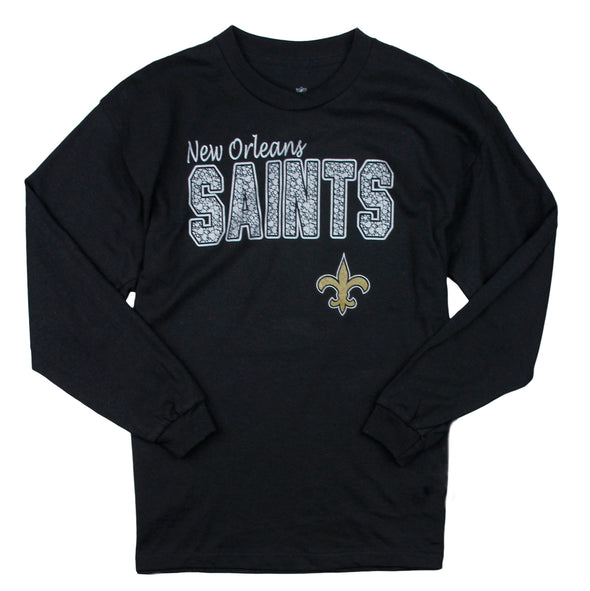 NFL Football Youth Girls New Orleans Saints Long Sleeve Single Shirt - Black