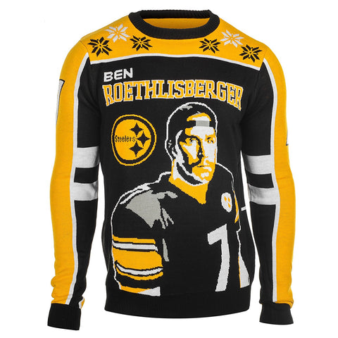 91006f4b KLEW NFL Men's Pittsburgh Steelers Ben Roethlisberger #7 Ugly Sweater