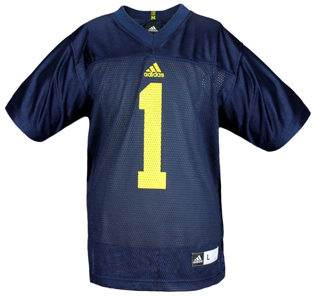 size 40 1602d 85890 Adidas NCAA Youth University of Michigan Wolverines # 1 Football Jersey,  Navy