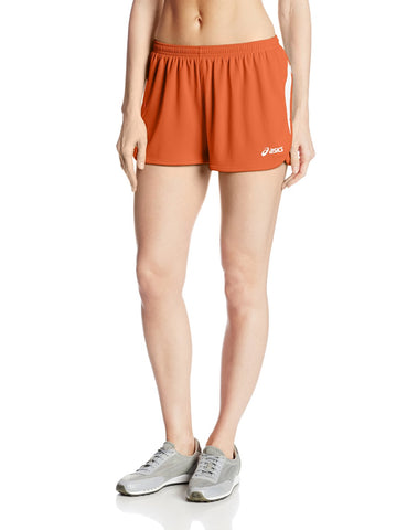 ASICS Women's Interval 1/2 Split Shorts, Orange/White
