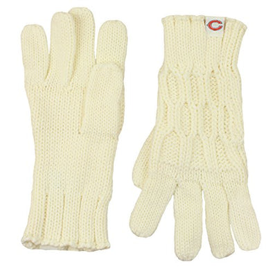 Chicago Bears NFL Football Women's Knitted Woven Winter Gloves - Off-White