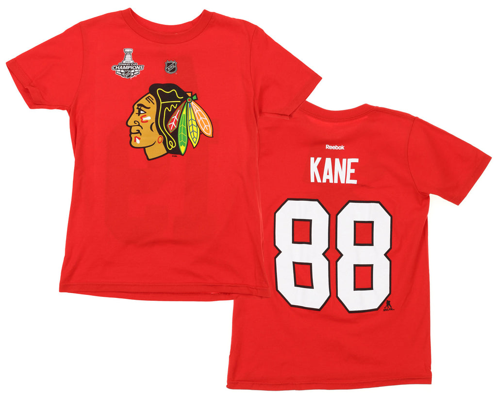 bacaf14a14e NHL Youth Chicago Blackhawks Patrick Kane #88 Player Tee, Red – Fanletic