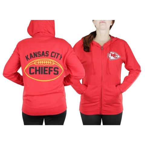 Kansas City Chiefs NFL Womens Double Coverage Zip French Terry Hoodie