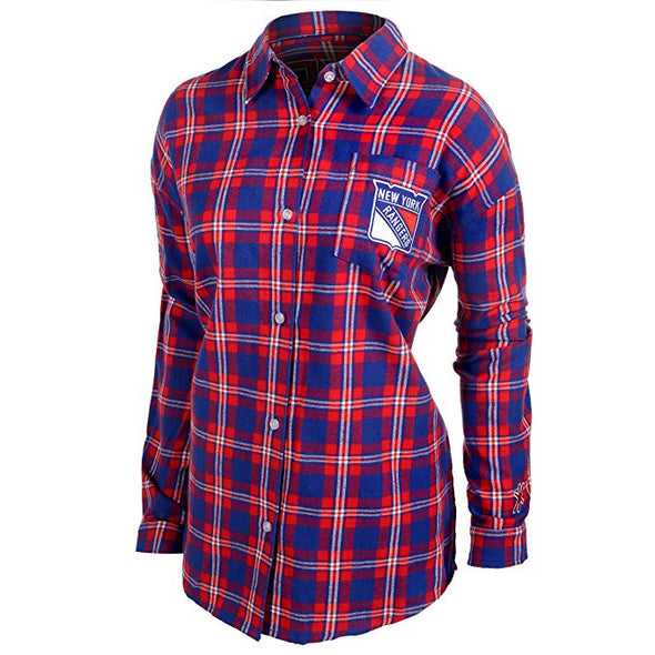 FOCO NHL Women's New York Rangers Wordmark Basic Flannel Shirt