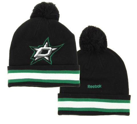 d02df47a87619 NHL Reebok Dallas Stars Youth Face Off Cuffed Knit Winter Hat With Pom