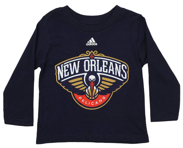 Adidas NBA Toddlers New Orleans Pelicans Long Sleeve Primary Logo Tee, Navy